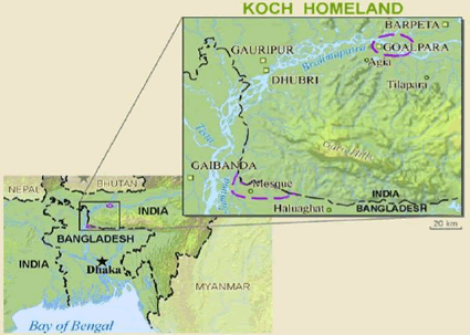 Koch (Hindu traditions) in India map