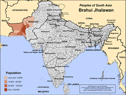 Brahui Jhalawan in Pakistan map