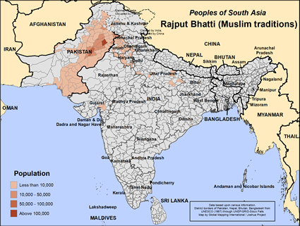 Rajput Bhatti (Muslim traditions) in India map