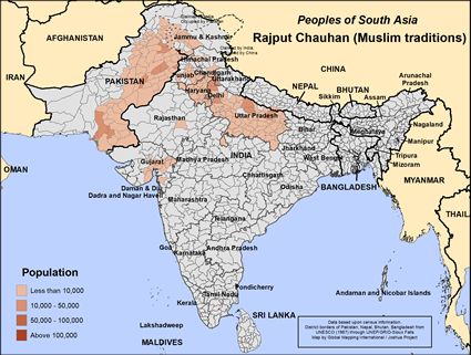 Rajput Chauhan (Muslim traditions) in India map