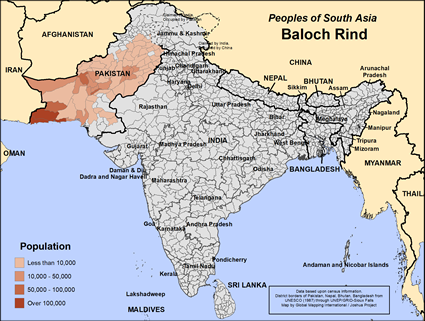 Baloch Rind in Pakistan map