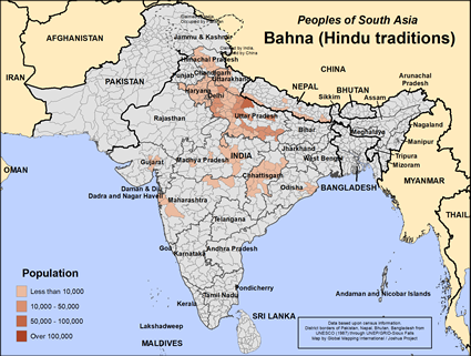 Bahna (Hindu traditions) in Nepal map
