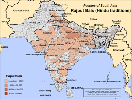 Rajput Bais (Hindu traditions) in India map