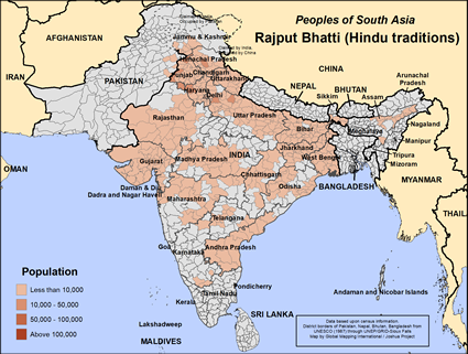 Rajput Bhatti (Hindu traditions) in India map