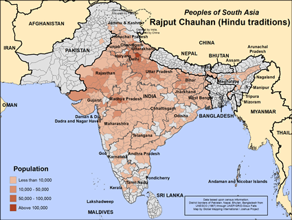 Rajput Chauhan (Hindu traditions) in India map