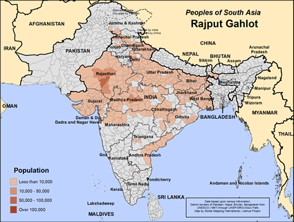 Rajput Gahlot in India map