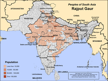 Rajput Gaur in India map