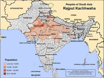 Rajput Kachhwaha in India map