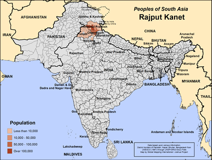 Rajput Kanet in India map