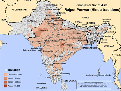 Rajput Ponwar (Hindu traditions) in India map