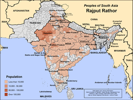 Rajput Rathor (Hindu traditions) in India map