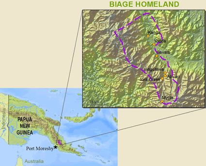 Biage in Papua New Guinea map