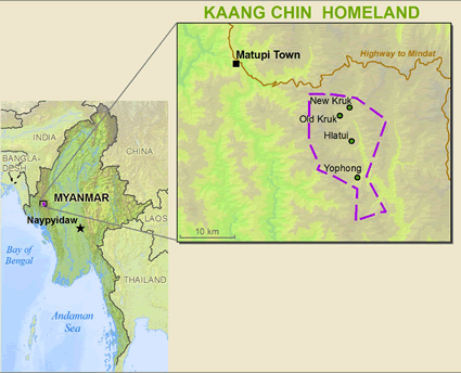 Chin, Kaang in Myanmar (Burma) map