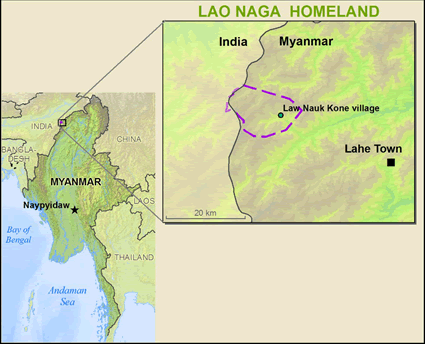 Naga Lao in Myanmar (Burma) map