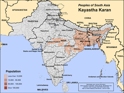 Kayastha Karan in India map
