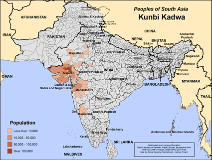 Kunbi Kadwa in India map