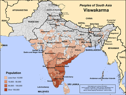 Viswakarma Asari in India map