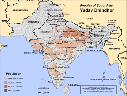 Yadav Dhindhor in India map
