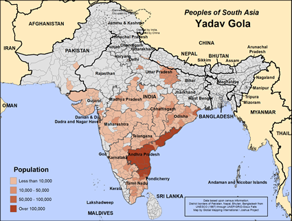 Yadav Gola in India map