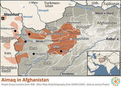 Aimaq in Afghanistan map