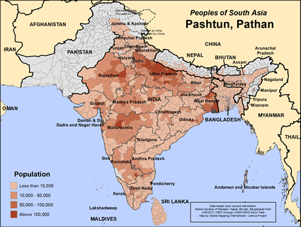 Pashtun, Pathan in Nepal map