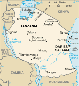 Shirazi in Tanzania map